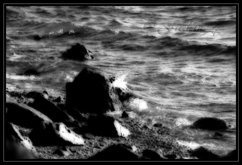 image en noir et blanc de la mer en Calédonie
