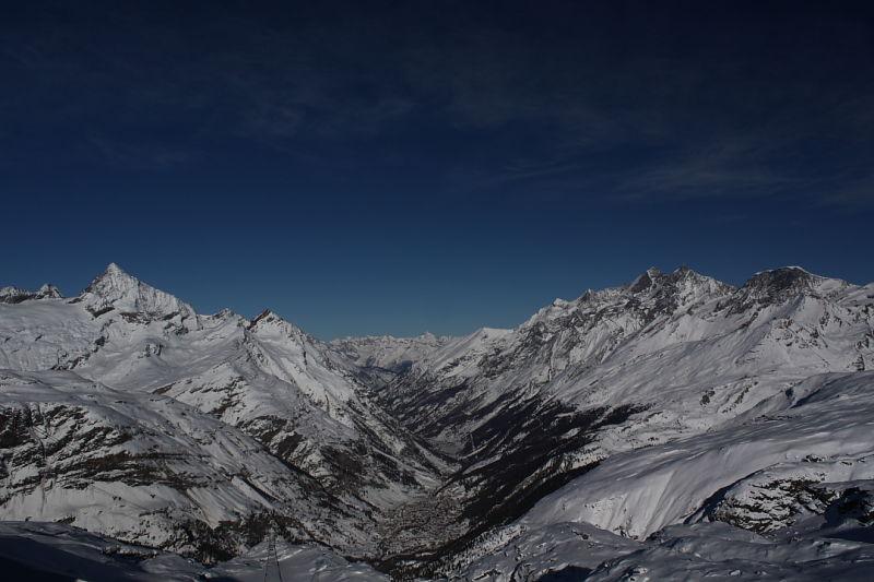 Panorama of mountain range in Switzerland.