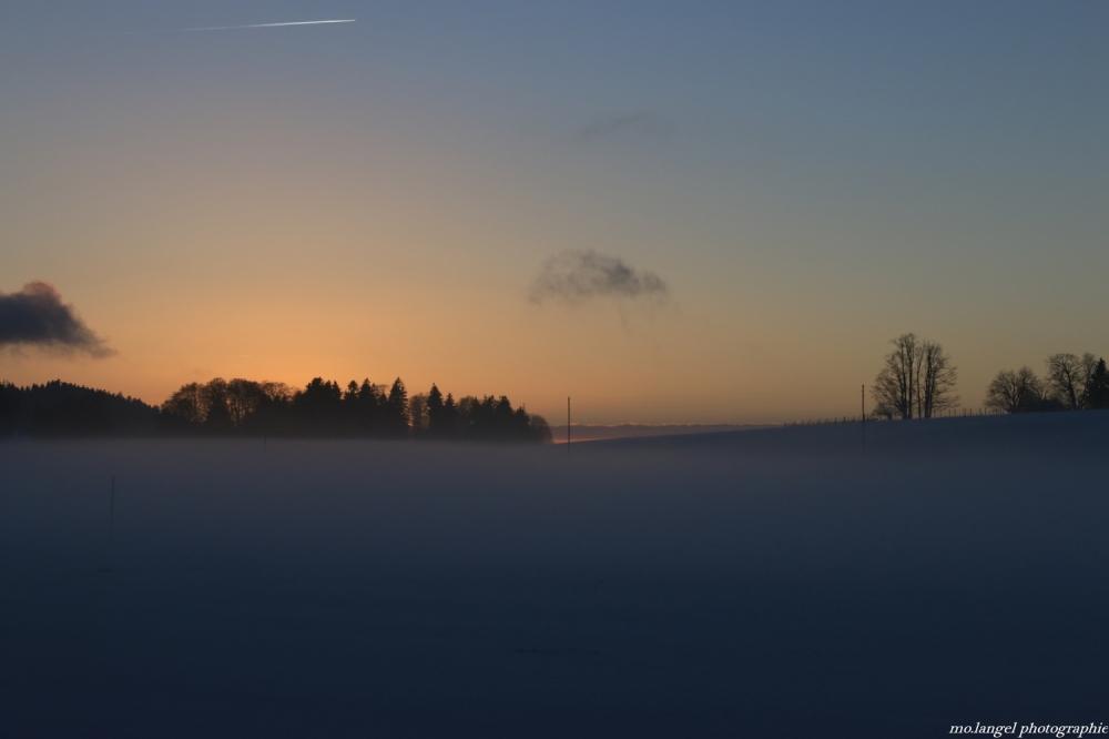 Quand le soleil se couche dans les champs
