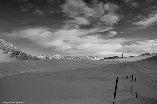 En marche sur le glacier