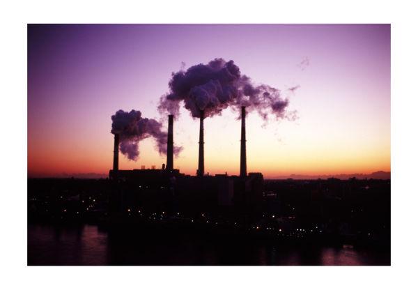 Power plant at dawn