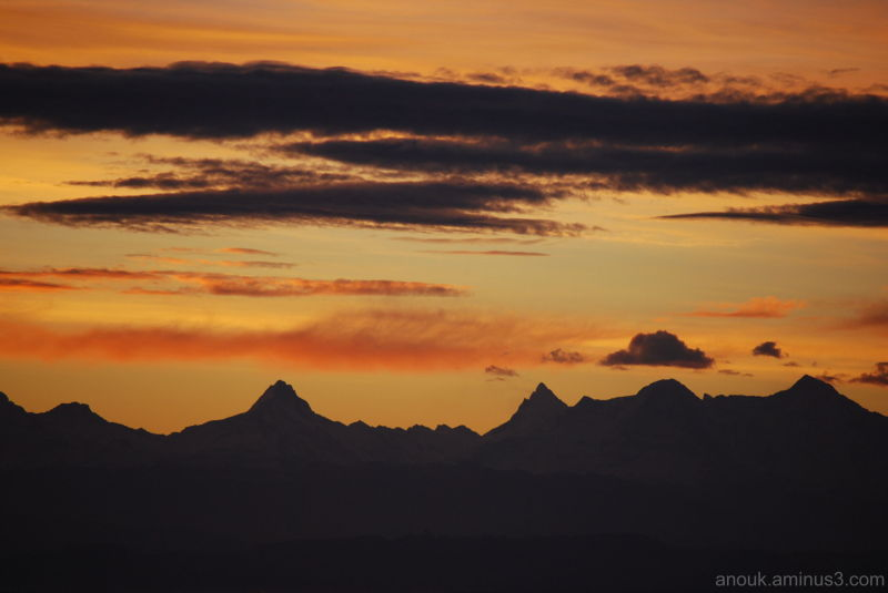 Sunrise from behind the Alps