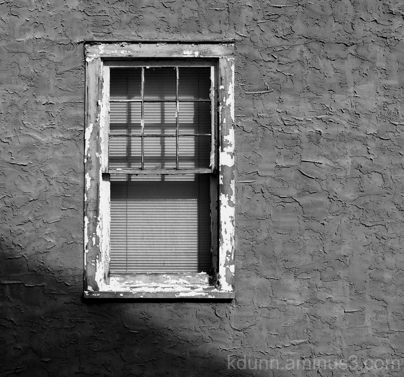 A weathered window.