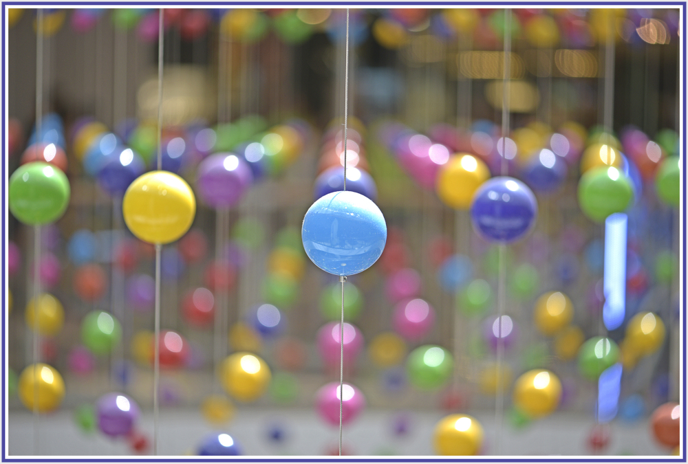 color balls in a shopping mall