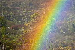 rainbow in Cradle Mountains Tasmania