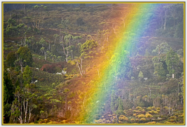 rainbow in Cradle Mountains Tasmania