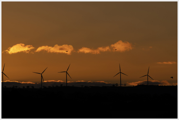 sunset and wind farm