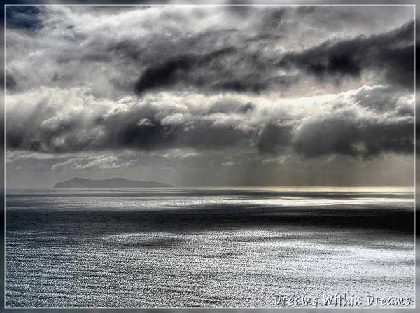 Mayor island and a silver sea.