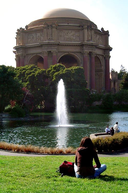 Relaxing at the Palace of Fine Arts