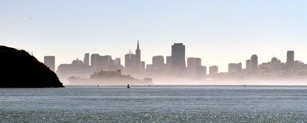 View of Misty SF Skyline from Tiburon