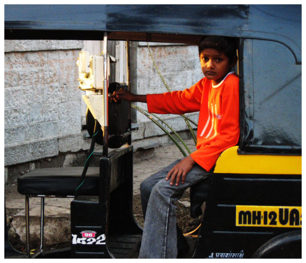 waiting for a ride in the rickshaw