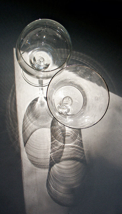 photograph of two glasses in sunlight