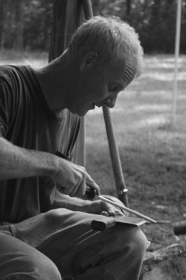 Greg sharpening meat cleaver