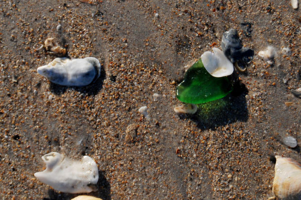 A piece of Rolling Rock on Topsail Beach