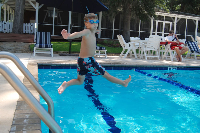 Silas Jumping into the pool