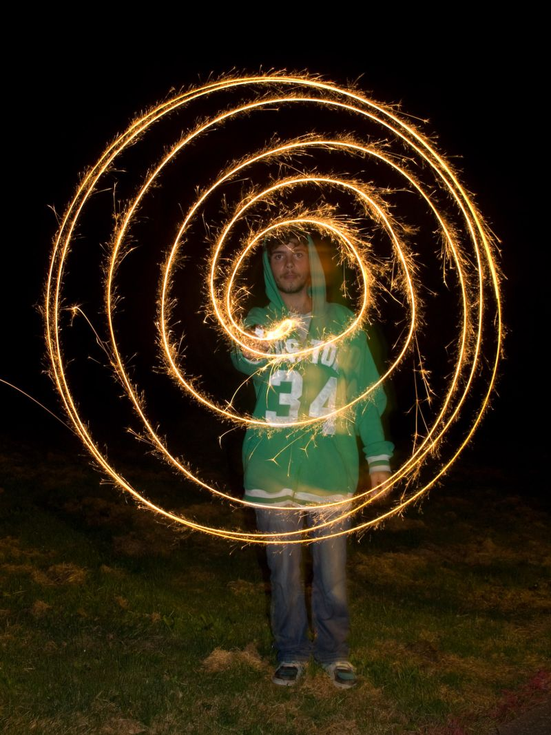 Self Portrait with Sparklers