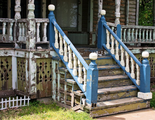 porch stairs on 19th century home
