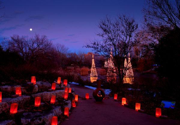 chimenea lights and moon at botanica for christmas