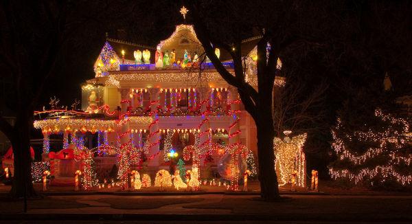 home lit for christmas