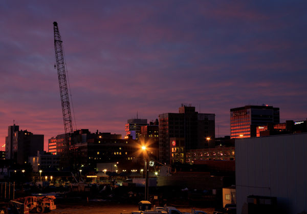 sun sets over downtown Wichita Kansas
