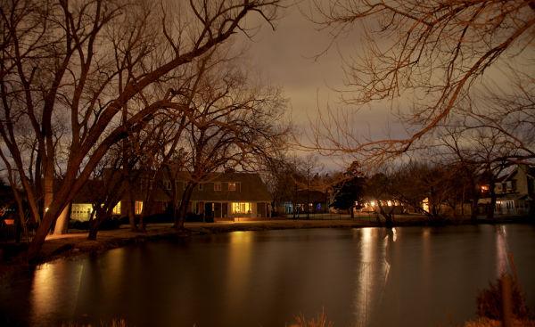 evening reflections of urban neighborhood