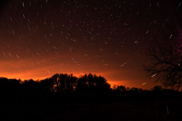 time exposure of northern sky after sunset