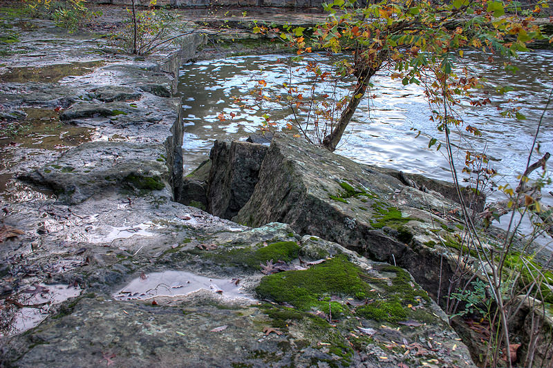 stone by the side of river in Kansas