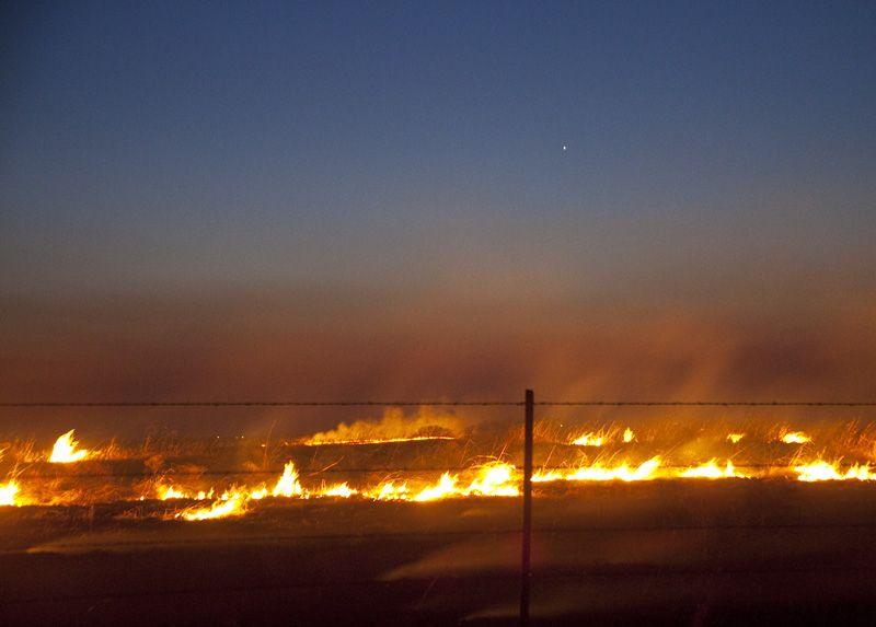 fire winding down on flint hills pasture