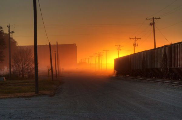sunrise in the railyard