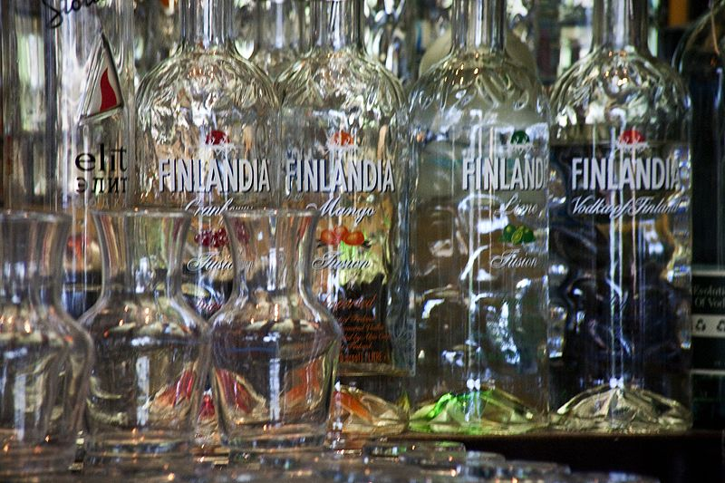bottles behind the bar on the plaza finlandia