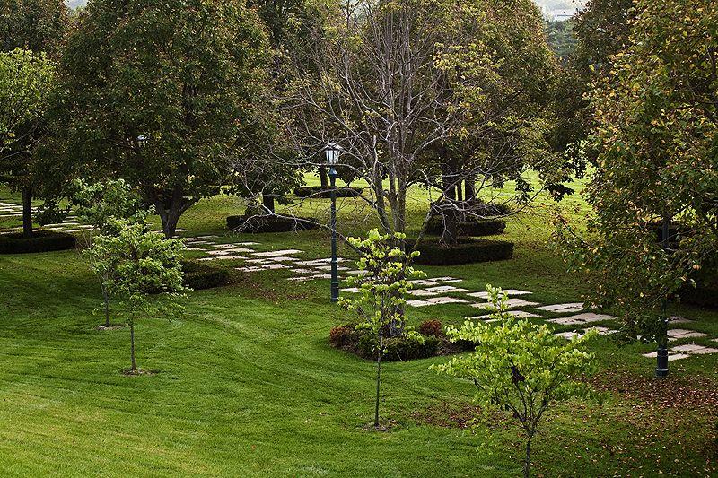 sculpture garden in evening