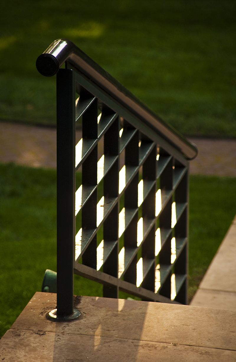 railing in the evening sun