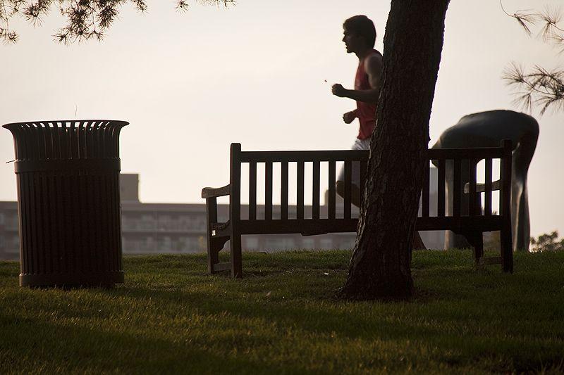 running in the nelson-atkins sculpture garden