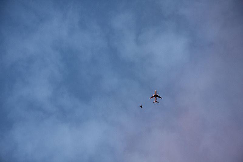 jets in sunset sky