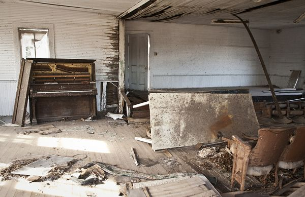 abandoned church with piano