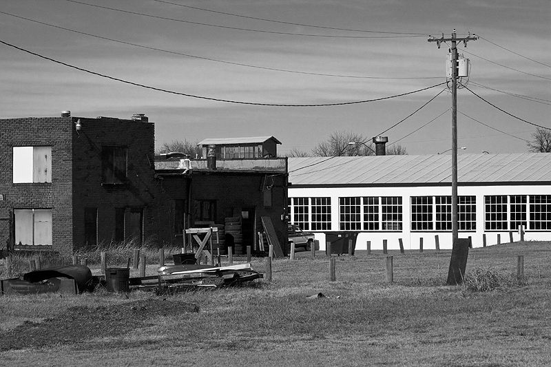 ponca city buildings across tracks from station
