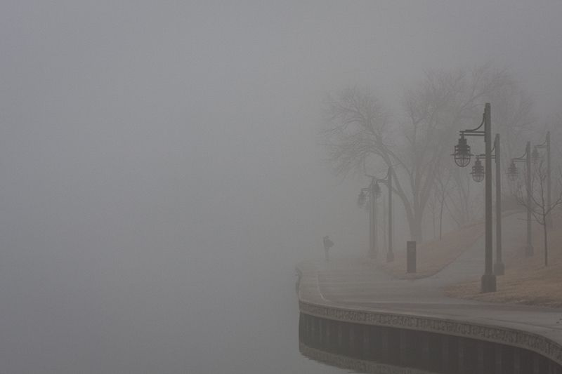 fog obscures river and the other bank