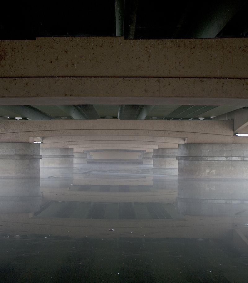 looking across the river under the bridge