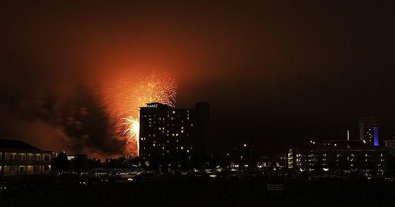 fireworks color the sky