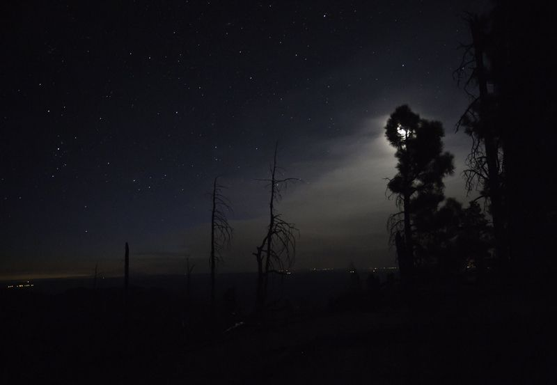 looking south across grand canyon at night