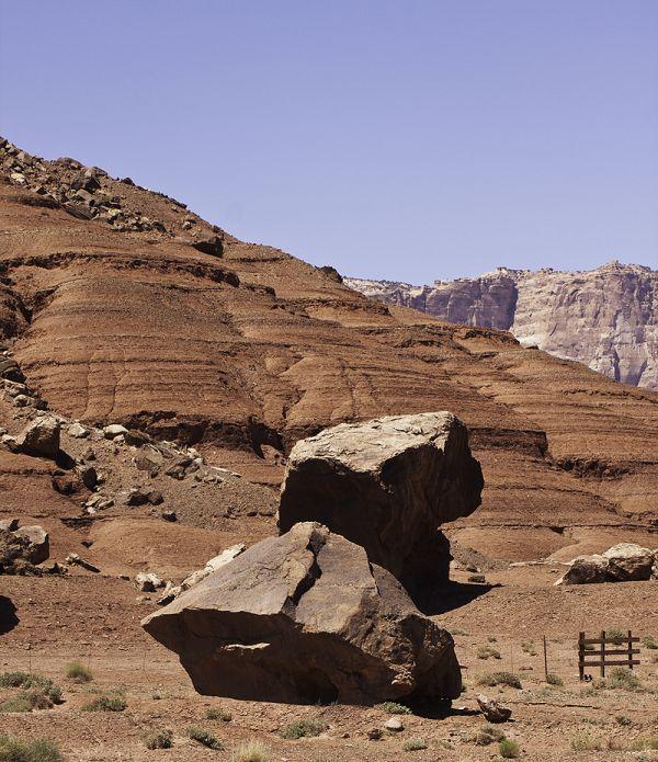 boulders below the cliffs