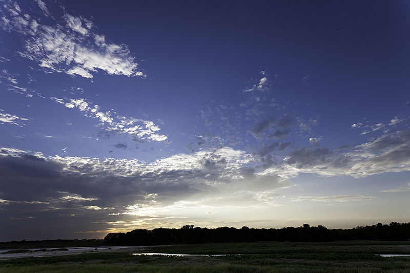 sunset and clouds along arkansas river