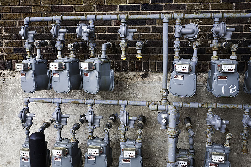 gas meters and one spot for a meter