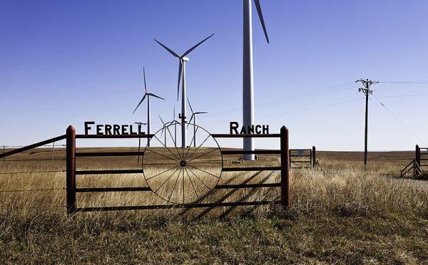 windmills on ferrell ranch on fall morning