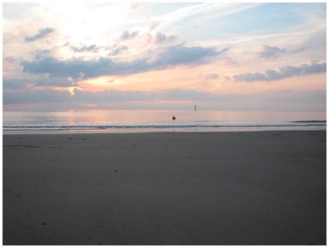 The beach at sundown