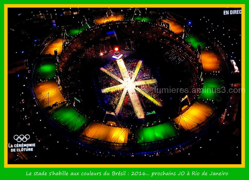 The Olympic stadium of London wearing the colors o