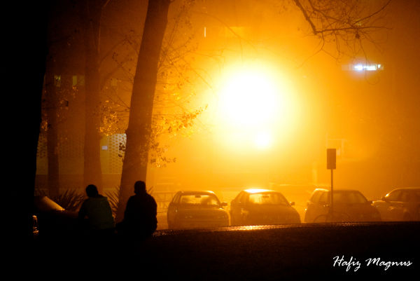 the fog at burgmann at night