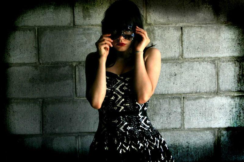 red lipstick black mask