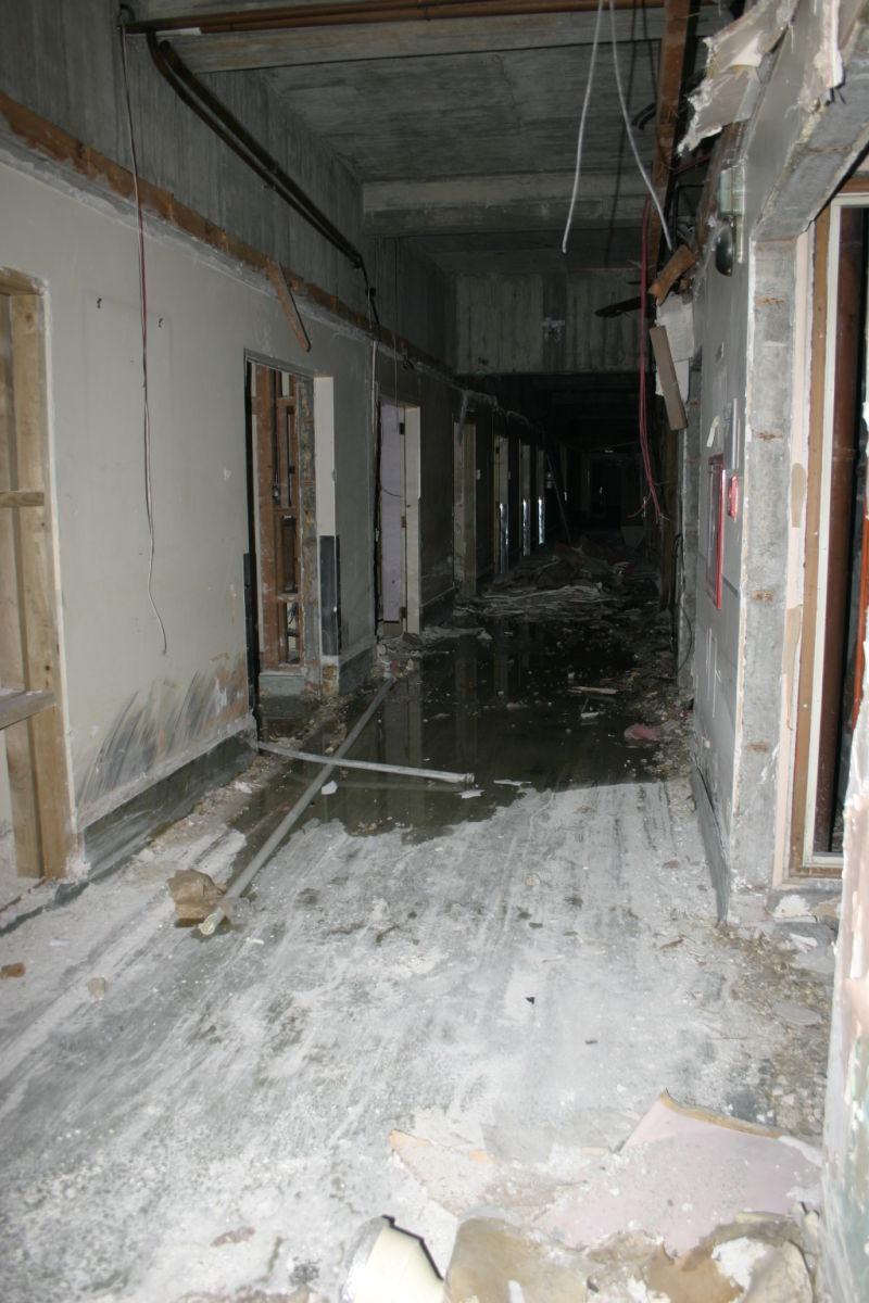 abandoned hospital flooded hallway