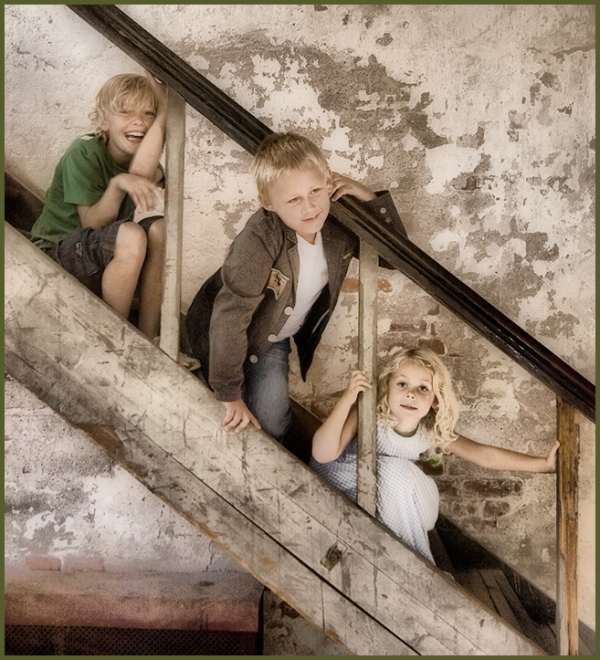 Children in the stair
